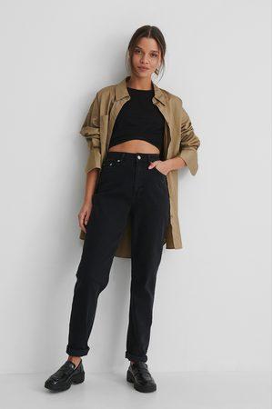 NA-KD Organic Turn Up Mom Jeans - Black