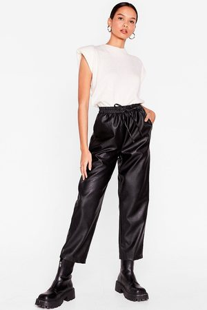 NASTY GAL Womens Faux Leather Called You Back Relaxed Jogger trousers - - 6