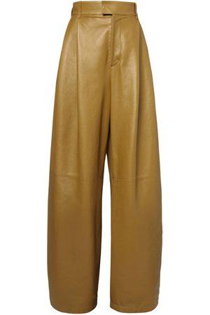 Bottega Veneta High Waist Leather Wide Leg Pants