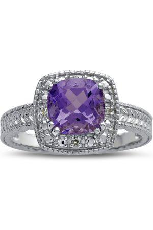 SuperJeweler 1 Carat Amethyst & Engraved Diamond Ring, I/J