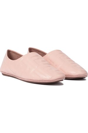 Fendi FF embossed leather ballet flats