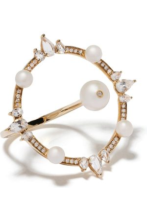 Anissa Kermiche 18kt yellow large circular pearl, diamond and sapphire ring