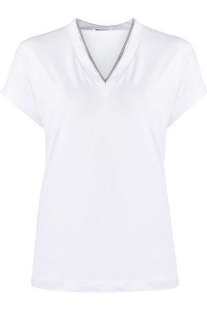 Brunello Cucinelli Silvery trim V-neck T-shirt