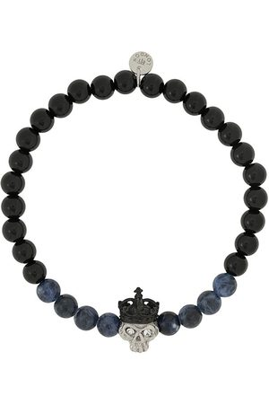 Tateossian Men Bracelets - King Skull beaded bracelet
