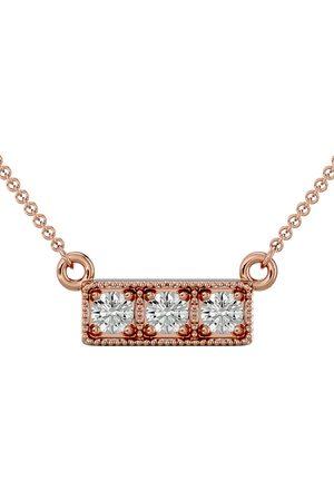 SuperJeweler 1/4 Carat Diamond Three Stone Necklace in 10K Rose (2.50 g), 18 Inches (I-J, I1-I2)