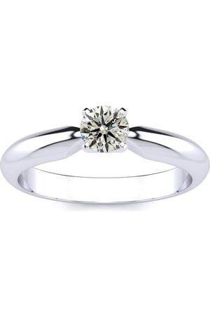 SuperJeweler 1/3 Carat Diamond Solitaire Engagement Ring in 1.4 Karat ™ (J-K, I1-I2), Size 4