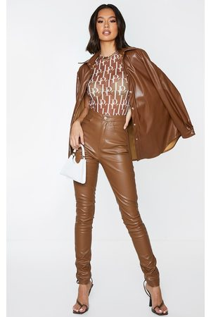 PRETTYLITTLETHING Chocolate Button Up Faux Leather Skinny Trousers