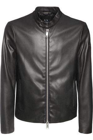 ARMANI EXCHANGE Men Leather Jackets - Faux Leather Biker Jacket
