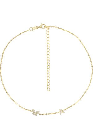 Adina's Jewels Pave Butterfly Initial Choker in . Size F, H, I, P.