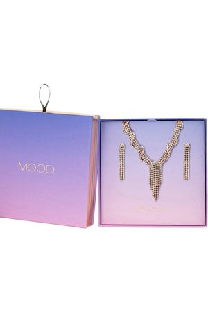 Moodstreet Rose Gold Plated Crystal Necklace & Earring Set