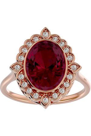 SuperJeweler 1 3/4 Carat Oval Shape Ruby & Halo 20 Diamond Ring in 14K Rose (5 g), I-J, Size 4