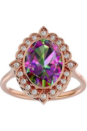 SuperJeweler 1.25 Carat Oval Shape Mystic Topaz & Halo 20 Diamond Ring in 14K Rose (5 g), I-J, Size 4