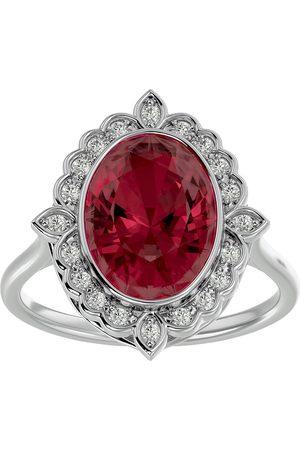 SuperJeweler 1 3/4 Carat Oval Shape Garnet & Halo 20 Diamond Ring in 14K (5 g), I-J, Size 4