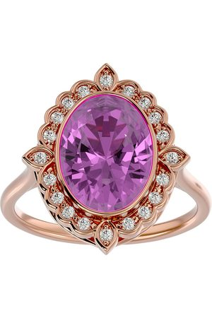 SuperJeweler 1 3/4 Carat Oval Shape Topaz & Halo 20 Diamond Ring in 14K Rose (5 g), I-J, Size 4