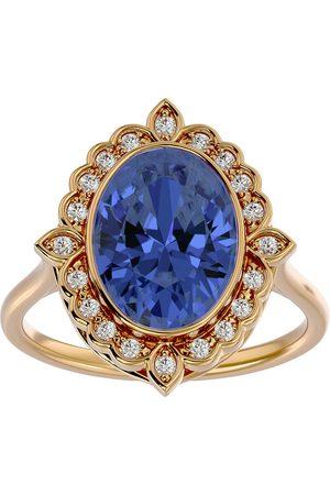 SuperJeweler 1.5 Carat Oval Shape Tanzanite & Halo 20 Diamond Ring in 14K (5 g), I-J, Size 4