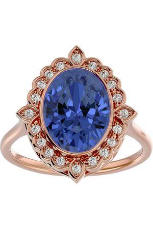 SuperJeweler 1.5 Carat Oval Shape Tanzanite & Halo 20 Diamond Ring in 14K Rose (5 g), I-J, Size 4
