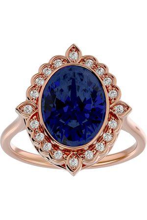 SuperJeweler 1 3/4 Carat Oval Shape Sapphire & Halo 20 Diamond Ring in 14K Rose (5 g), I-J, Size 4