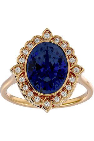 SuperJeweler 1 3/4 Carat Oval Shape Sapphire & Halo 20 Diamond Ring in 14K (5 g), I-J, Size 4