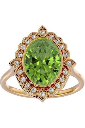 SuperJeweler 1.5 Carat Oval Shape Peridot & Halo 20 Diamond Ring in 14K (5 g), I-J, Size 4