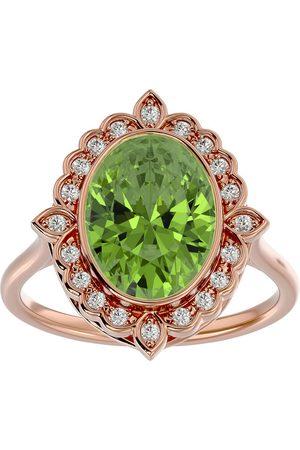 SuperJeweler 1.5 Carat Oval Shape Peridot & Halo 20 Diamond Ring in 14K Rose (5 g), I-J, Size 4