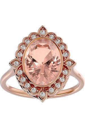 SuperJeweler 1 1/3 Carat Oval Shape Morganite & Halo 20 Diamond Ring in 14K Rose (5 g), I-J, Size 4