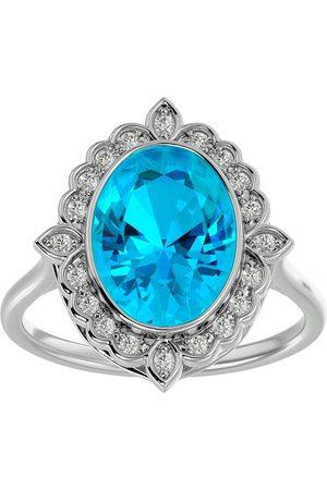 SuperJeweler 1 3/4 Carat Oval Shape Blue Topaz & Halo 20 Diamond Ring in 14K (5 g), I-J, Size 4