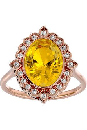 SuperJeweler 1.25 Carat Oval Shape Citrine & Halo 20 Diamond Ring in 14K Rose (5 g), I-J, Size 4