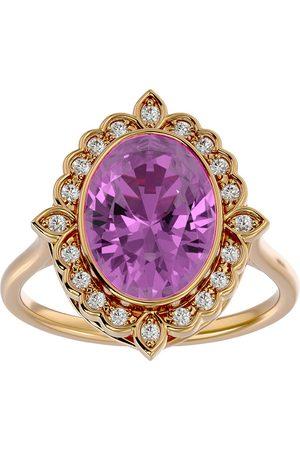 SuperJeweler 1 3/4 Carat Oval Shape Pink Topaz & Halo 20 Diamond Ring in 14K (5 g), I-J, Size 4