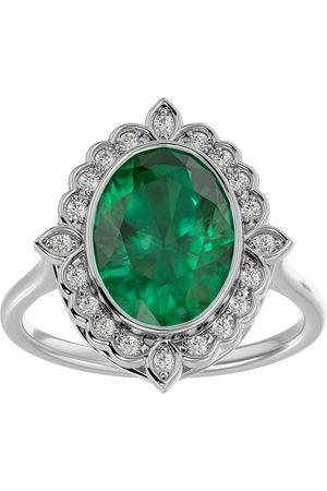 SuperJeweler 1 1/3 Carat Oval Shape Emerald Cut & Halo 20 Diamond Ring in 14K (5 g), I-J, Size 4
