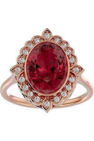 SuperJeweler 1 3/4 Carat Oval Shape Garnet & Halo 20 Diamond Ring in 14K Rose (5 g), I-J, Size 4