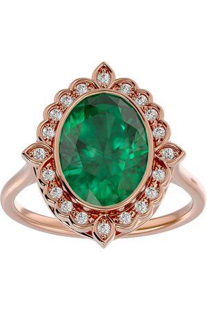 SuperJeweler 1 1/3 Carat Oval Shape Emerald Cut & Halo 20 Diamond Ring in 14K Rose (5 g), I-J, Size 4