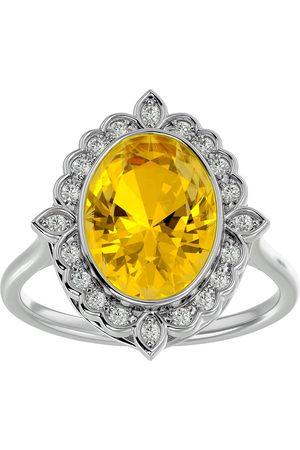 SuperJeweler 1.25 Carat Oval Shape Citrine & Halo 20 Diamond Ring in 14K (5 g), I-J, Size 4