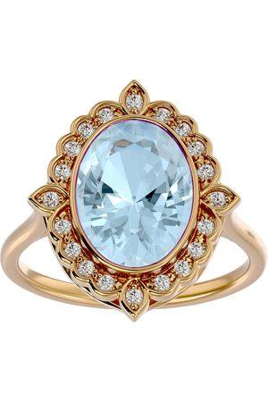 SuperJeweler 1 1/3 Carat Oval Shape Aquamarine & Halo 20 Diamond Ring in 14K (5 g), I-J, Size 4