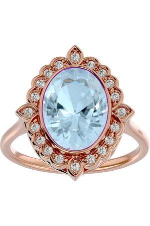 SuperJeweler 1 1/3 Carat Oval Shape Aquamarine & Halo 20 Diamond Ring in 14K Rose (5 g), I-J, Size 4