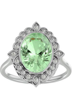 SuperJeweler 1.25 Carat Oval Shape Green Amethyst & Halo 20 Diamond Ring in 14K (5 g), I-J, Size 4