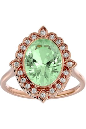 SuperJeweler Women Rings - 1.25 Carat Oval Shape Green Amethyst & Halo 20 Diamond Ring in 14K Rose (5 g), I-J, Size 4