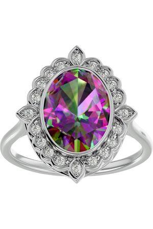 SuperJeweler 1.25 Carat Oval Shape Mystic Topaz & Halo 20 Diamond Ring in 14K (5 g), I-J, Size 4