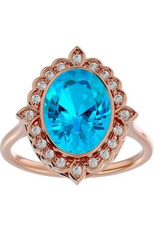SuperJeweler 1 3/4 Carat Oval Shape Blue Topaz & Halo 20 Diamond Ring in 14K Rose (5 g), I-J, Size 4