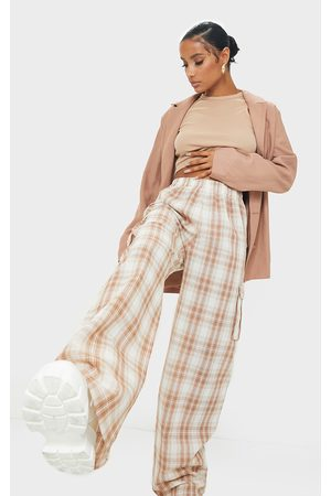 PRETTYLITTLETHING Stone Check Wide Leg Cargo Trousers