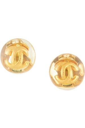 CHANEL Interlocking CC button clip-on earrings