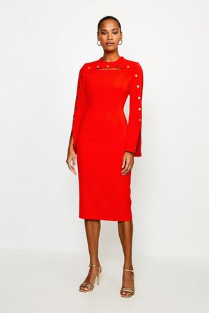 Karen Millen UK & IE Women Pencil Dresses - Karen Millen Stud Detail Split Sleeve Pencil Dress