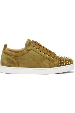 Christian Louboutin Louis Junior Spike-embellished Suede Trainers - Mens - Olive