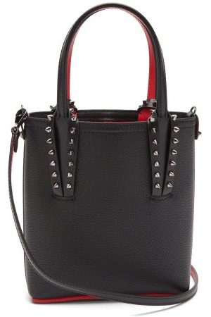 Christian Louboutin Cabata Mini Spike-embellished Grained-leather Bag - Womens