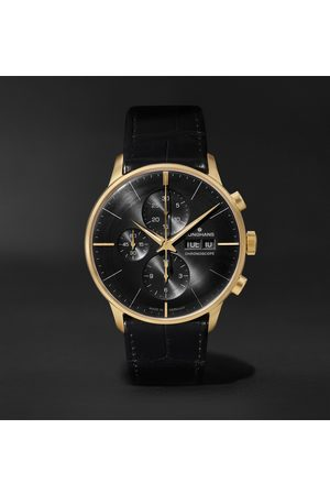 Junghans Meister Limited Edition Automatic Chronoscope 40mm 18-Karat Gold and Alligator Watch, Ref. No. 027/9000.02