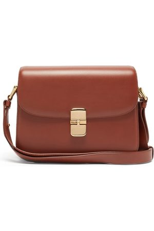A.P.C. Grace Large Smooth-leather Cross-body Bag - Womens - Tan