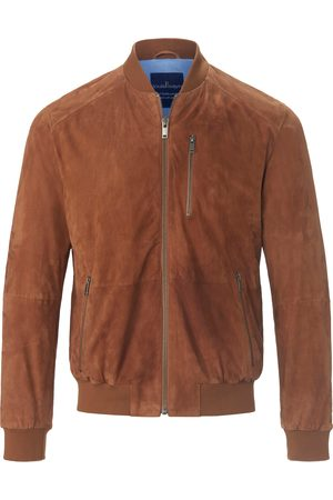 Louis Sayn Men Leather Jackets - Leather blouson knitted college collar size: 46s