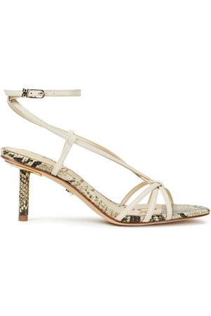 Sam Edelman Women Sandals - Woman Pippa Smooth And Snake-effect Leather Sandals Ivory Size 10