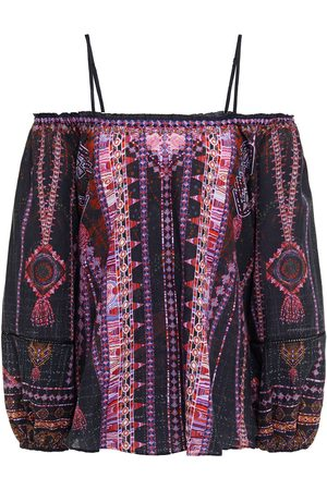 CAMILLA Women Blouses - Woman Cold-shoulder Studded Printed Cotton Ramie And Bamboo-blend Blouse Size L