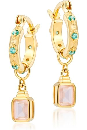 V by Laura Vann Women Earrings - Lena 18kt Gold-plated Hoop Earrings