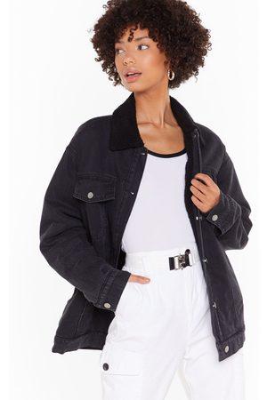 NASTY GAL Women Denim Jackets - Womens Sherpa Collar Oversized Denim Jacket